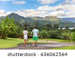 couple tourists walking on... | Shutterstock . vector #636062564