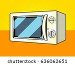 microwave oven pop art style... | Shutterstock .eps vector #636062651