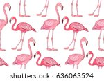 flamingo pattern. flamingo... | Shutterstock .eps vector #636063524