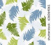 polypodiophyta. seamless... | Shutterstock .eps vector #636064061