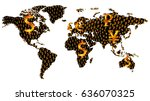 world map with basic global... | Shutterstock .eps vector #636070325