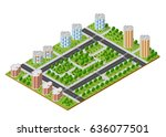 city quarter top view landscape ... | Shutterstock .eps vector #636077501