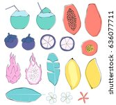 set of tropical fruits and... | Shutterstock .eps vector #636077711