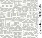city pattern silhouette cut... | Shutterstock .eps vector #636077939
