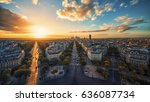sunset over champs elysees and... | Shutterstock . vector #636087734