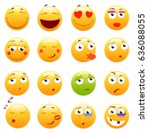 set of 3d cute emoticons. emoji ... | Shutterstock .eps vector #636088055