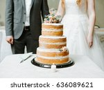 wedding naked cake with flowers ... | Shutterstock . vector #636089621
