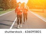 sport man and woman jogging...   Shutterstock . vector #636095801
