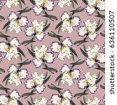 watercolor iris flower seamless ...   Shutterstock . vector #636110507