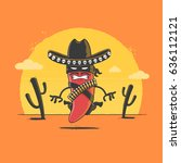 angry red chili pepper mexican... | Shutterstock .eps vector #636112121