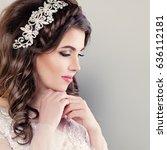 beautiful young bride. stylish... | Shutterstock . vector #636112181
