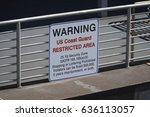 warning us coast guard...   Shutterstock . vector #636113057