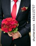 groom holding bridal bouquet...   Shutterstock . vector #636115757