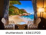 Hotel Room And Beach Landscape...
