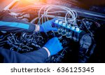 cleaning engine injectors. car... | Shutterstock . vector #636125345