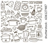 set of cute kitchen spices and...   Shutterstock .eps vector #636127487