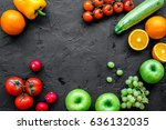 diet food with fresh fruits and ... | Shutterstock . vector #636132035