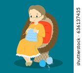 granny knitting while sitting... | Shutterstock .eps vector #636137435