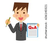 businessman to answer the... | Shutterstock .eps vector #636140321