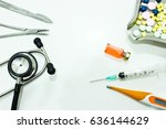 the surgical instruments ... | Shutterstock . vector #636144629