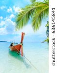 longtale boat on the white... | Shutterstock . vector #636145841