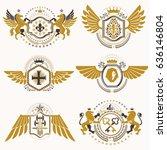 heraldic vector signs decorated ... | Shutterstock .eps vector #636146804