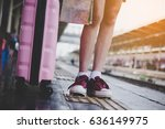 the foot of a young woman... | Shutterstock . vector #636149975