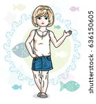 happy little blonde girl posing ... | Shutterstock .eps vector #636150605