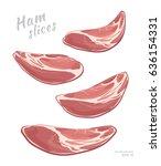 flying slices of ham  isolated... | Shutterstock .eps vector #636154331