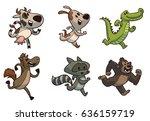 vector set of cute running... | Shutterstock .eps vector #636159719
