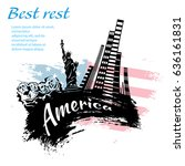 america travel grunge style... | Shutterstock .eps vector #636161831