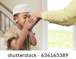 little asian muslim boy with... | Shutterstock . vector #636165389
