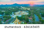 sunset at huay mongkol temple... | Shutterstock . vector #636165605