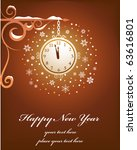 Retro New Year Card With Old...