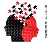 Stock vector puzzle heads icon vector 63616828