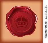 royal crown wax seal vector | Shutterstock .eps vector #63616831