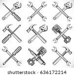 wrench  screwdriver  hammer ... | Shutterstock .eps vector #636172214