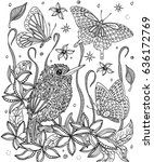 bird and flowers coloring page. ... | Shutterstock .eps vector #636172769