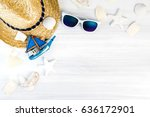 summer beach accessories  white ... | Shutterstock . vector #636172901