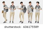 young adult man student gesture ... | Shutterstock . vector #636175589