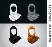 muslim women wearing orange... | Shutterstock .eps vector #636192281