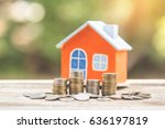 house model and coin money on... | Shutterstock . vector #636197819