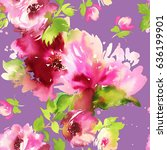 Stock photo seamless summer pattern with watercolor flowers handmade on a purple background 636199901