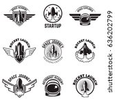 set of space labels. rocket... | Shutterstock .eps vector #636202799