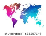 world map blue in polygonal... | Shutterstock .eps vector #636207149