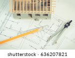 small house under construction... | Shutterstock . vector #636207821