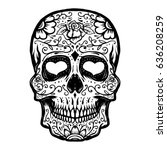 Hand Drawn Sugar Skull Isolate...