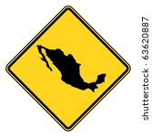 mexico map road sign in yellow  ... | Shutterstock . vector #63620887
