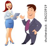 the boss jokes with the... | Shutterstock .eps vector #636223919