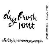 hand drawn dry brush font.... | Shutterstock .eps vector #636224984